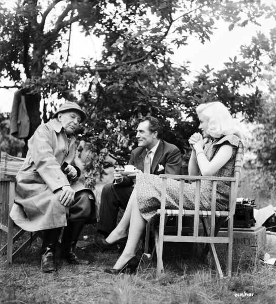 AE Matthews, Patrick Holt, and Diana Dors on the set of Miss Tulip Stays The Night (1955)