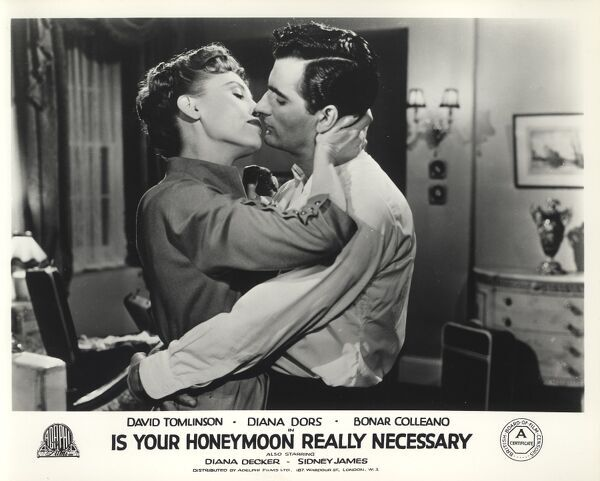 Diana Decker and Bonar Colleano in Maurice Elvey's Is Your Honeymoon Really Necessary (1953)