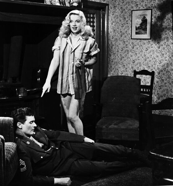 Diana Dors and Dominic Roche in My Wife's Lodger (1952)
