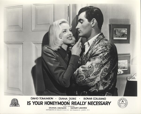 Diana Dors and Bonar Colleano in Maurice Elvey's Is Your Honeymoon Really Necessary (1953)