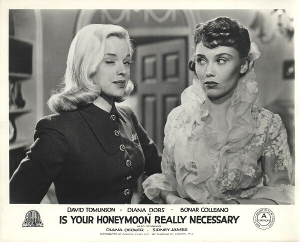 Diana Dors and Diana Decker in Maurice Elvey's Is Your Honeymoon Really Necessary (1953)