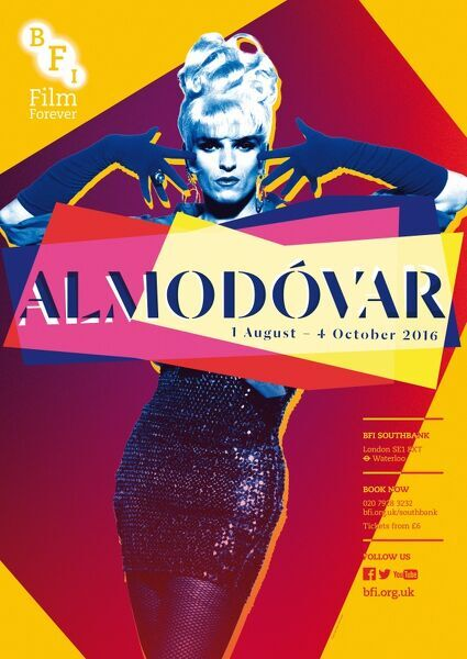 Poster for Almodovar Season at BFI Southbank (1st August - 4th October 2016).
