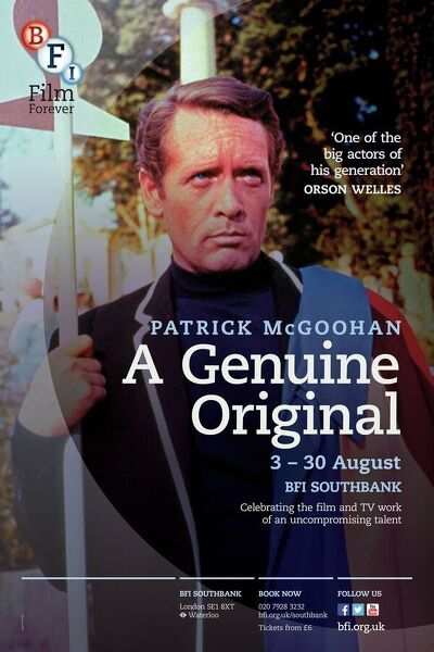 Poster for Patrick McGoohan A Genuine Original Season at BFI Southbank (3 - 30 August 2013)