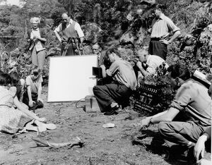 Cast & Crew on the set of Joe Mendoza's Five Clues To Fortune (1956)