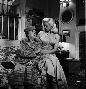 Cicely Courtneidge and Diana Dors in Leslie Arliss' Miss Tulip Stays The Night (1955)