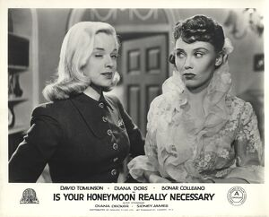 Diana Dors and Diana Decker in Maurice Elvey's Is Your Honeymoon Really Necessary
