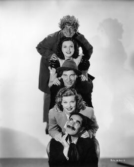 Harpo Marx, Lucille Ball, Chico Marx, Ann Miller, and Groucho Marx in William Seiter's Room Service (1938)