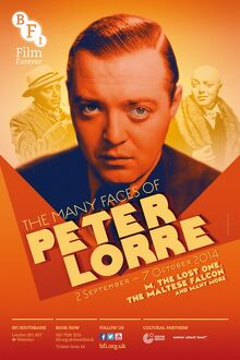 Poster for Peter Lorre Season at BFI Southbank (2 September - 7 October 2014)