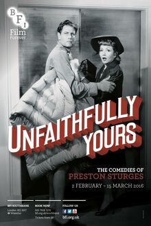 Poster for Unfaithfully Yours (The Comedies of Preston Sturges) at BFI Southbank