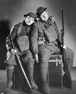 Stan Laurel and Oliver Hardy in George Marshall and Raymond Carey's Pack Up Your Troubles